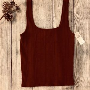 American Eagle Square Neck Ribbed Tank Rustic Red